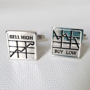 Stock Market Stainless Steel Cuff Links